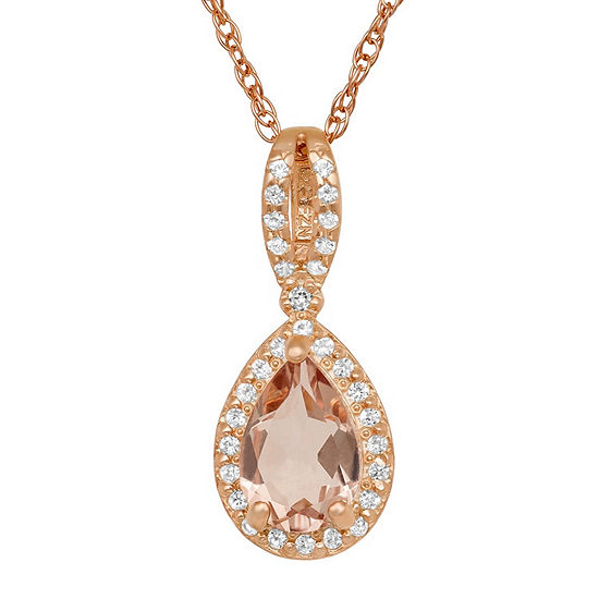 Womens Simulated Pink Morganite 10K Rose Gold Over Silver Pendant Necklace