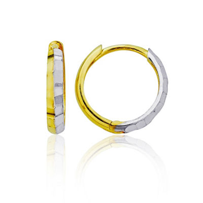 14K Two Tone Gold 12mm Hoop Earrings