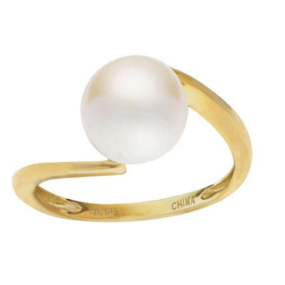 Womens 8.5MM White Cultured Freshwater Pearl 10K Gold Cocktail Ring