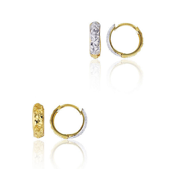 14K Two Tone Gold 10mm Hoop Earrings