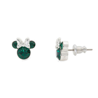 Disney Lab Created Green Brass 9.3mm Mickey and Friends Stud Earrings