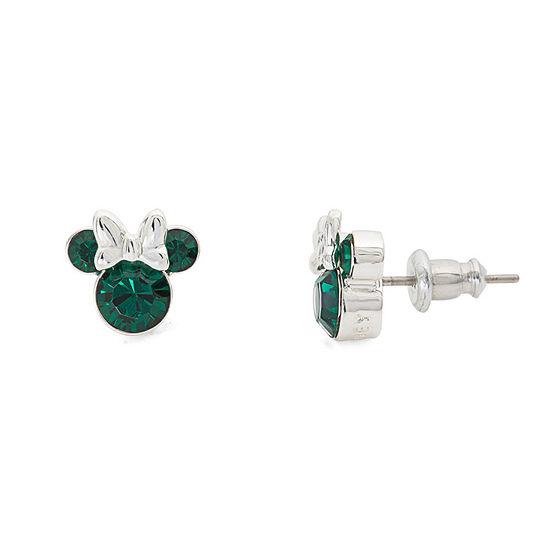 Disney Green Crystal 9.3mm Minnie Mouse Stud Earrings