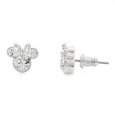 Disney Clear Crystal Brass 9.3mm Minnie Mouse Stud Earrings