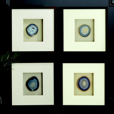 Two's Company Set Of 4 Genuine Geode/Agate Wall Art In Brown Wooden Frame