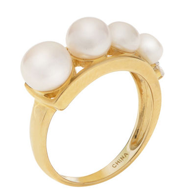 Womens 4MM White Cultured Freshwater Pearl 10K Gold Round Delicate Cocktail Ring