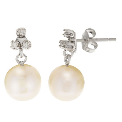 Gray Cultured Freshwater Pearl 10K White Gold Drop Earrings