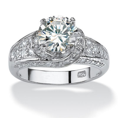 Diamonart Womens 3 1/2 CT. T.W White Cubic Zirconia Platinum Over Silver Round Engagement Ring