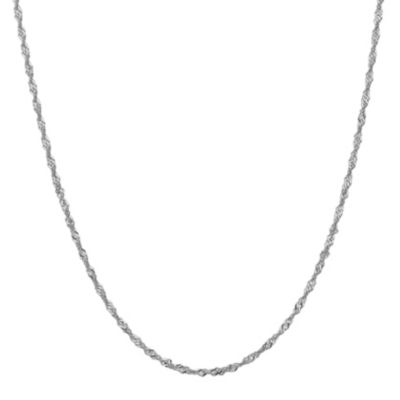 14K White Gold 16 Inch Solid Singapore Chain Necklace