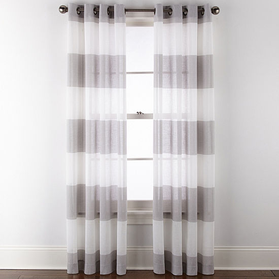 JCPenney Home Metallic Stripe Grommet-Top Single Sheer Curtain Panel
