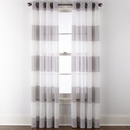 JCPenney Home Metallic Stripe Sheer Grommet-Top Single Curtain Panel, One Size , Gray