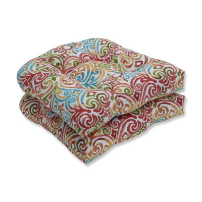 Pillow Perfect Set of 2 Corinthian Dapple Wicker Patio Seat Cushion