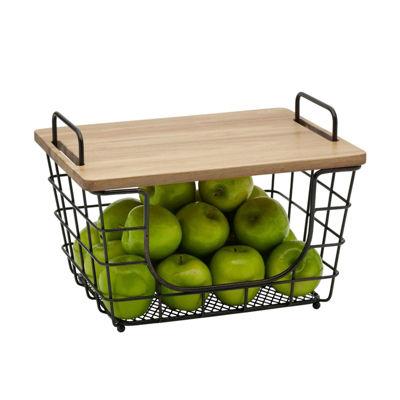 Gourmet Basics by Mikasa Mksa Gb Madm Stck Bskt W Lid Os Ht Ztie Over Cabinet Storage