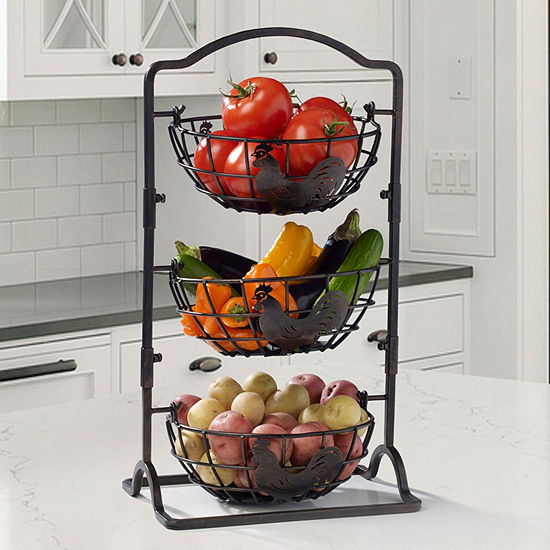 Gourmet Basics by Mikasa Mksa Gb Rooster 3tier Hanging Bskt Gb Over Cabinet Storage