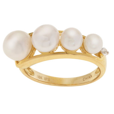 Womens 4MM White Cultured Freshwater Pearl 10K Gold Round Cocktail Ring