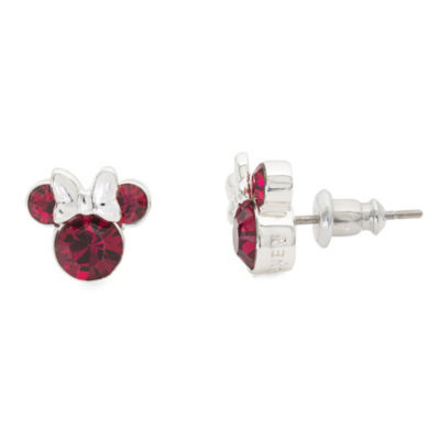 Disney Lab Created Red Brass 9.3mm Mickey and Friends Stud Earrings
