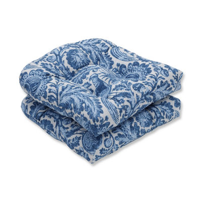 Pillow Perfect Set of 2 Tucker Resist Azure Wicker Patio Seat Cushion