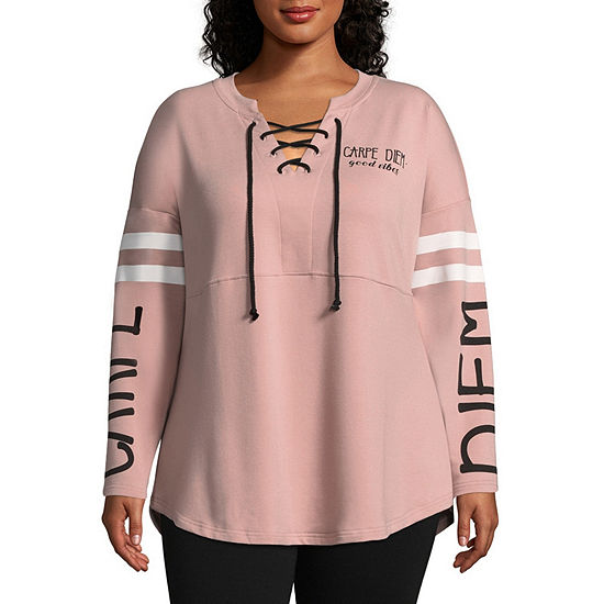 Miss Chievous Long Sleeve Lace Up Pullover - Plus