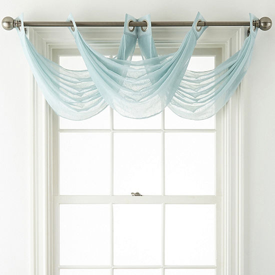 Home Expressions Crushed Voile Grommet-Top Waterfall Valance