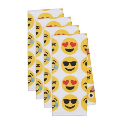 Emoji Faces Printed Waffle Dishtowel Set - Set of 4