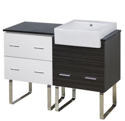 46-in. W 18-in. D Modern Plywood-Melamine Vanity Base Set Only In White-Dawn Grey
