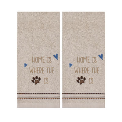 Saturday Knight Home Paw Print 2-pack Embroidered Hand Towel