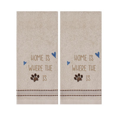 Saturday Knight Home Paw Print 2-pc. Embroidered Hand Towel
