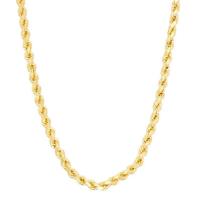 14K Gold over Silver Solid Rope 16-30 Inch Chain Necklace