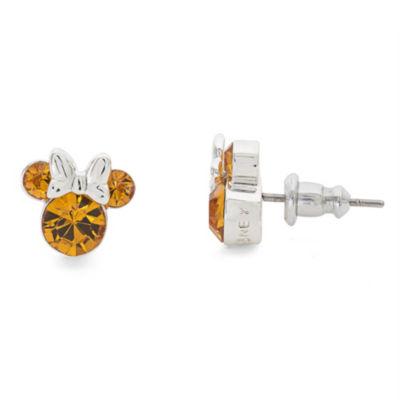 Disney Lab Created Orange Brass 9.3mm Mickey and Friends Stud Earrings
