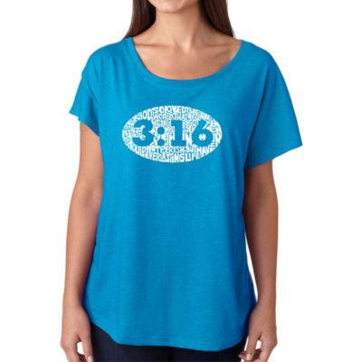 Los Angeles Pop Art Women's Loose Fit Dolman Cut Word Art Shirt - John 3:16