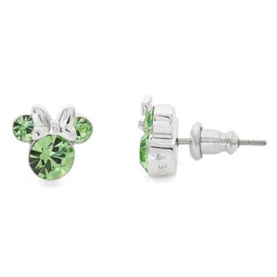 Disney Round Green Silver Over Brass Stud Earrings