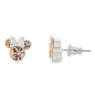 Disney Yellow Crystal Brass 9.3mm Minnie Mouse Stud Earrings