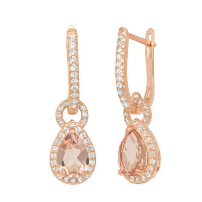 Pink Morganite 10K Rose Gold Over Silver Drop Earrings