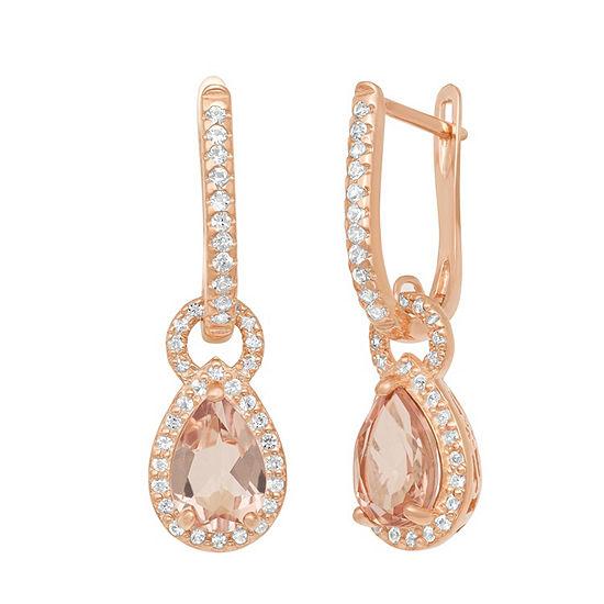 Simulated Pink Morganite 10K Rose Gold Over Silver Drop Earrings