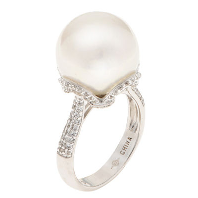 Womens 13MM White Cultured Freshwater Pearl Sterling Silver Round Cocktail Ring