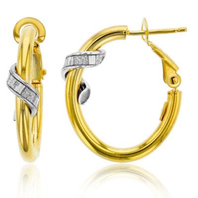 Made In Italy 14K Gold 20mm Oval Hoop Earrings