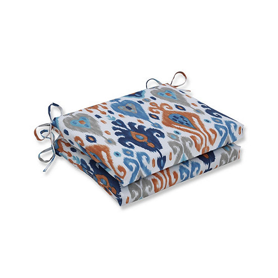 Pillow Perfect Set of 2 Paso Azure Squared CornersPatio Seat Cushion