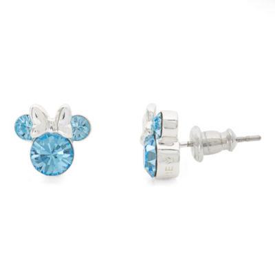 Disney Blue Crystal Brass 9.3mm Minnie Mouse Stud Earrings