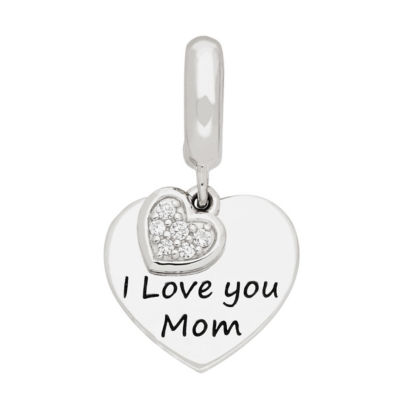 Ps Personal Style White Cubic Zirconia Sterling Silver Heart Charm