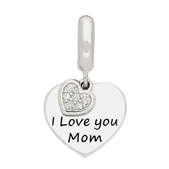 """PS Personal Style """"I Love You Mom"""" White Cubic Zirconia Heart Charm"""