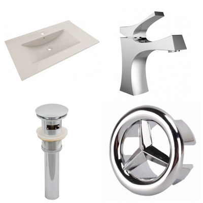 35.5-in. W 1 Hole Ceramic Top Set In Biscuit Color- CUPC Faucet Incl.  - Overflow Drain Incl.