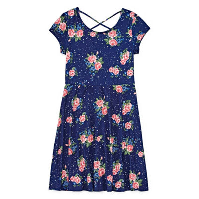 Arizona Short Sleeve Floral A-Line Dress Girls