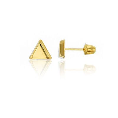 14K Gold 6mm Triangle Stud Earrings