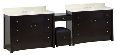 116.45-in. W Floor Mount Distressed Antique WalnutVanity Set For 3H8-in. Drilling Beige Top White UM Sink