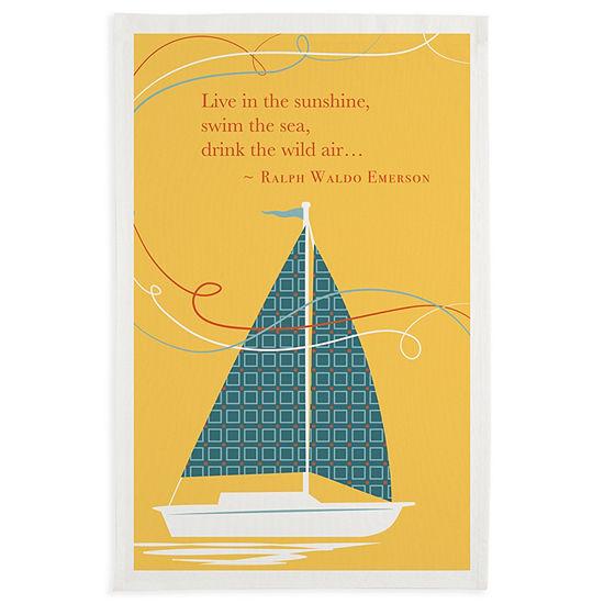 Sunshine Sailboat Printed Dishtowel Set - Set of 3