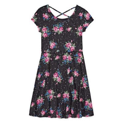 Arizona Short Sleeve Floral A-Line Dress Girls