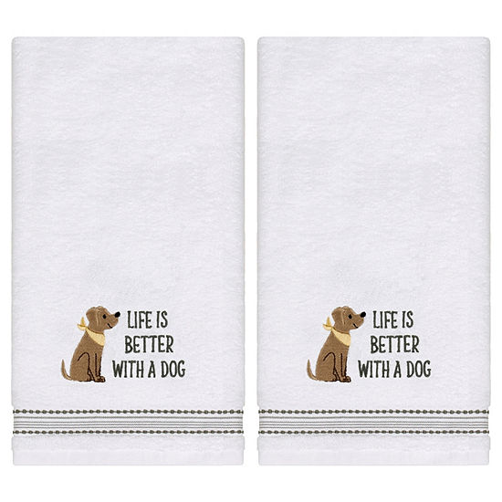 Saturday Knight Life Is Better 2 Pc Embroidered Hand Towel