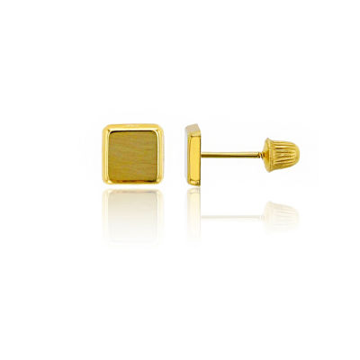 14K Gold 5mm Square Stud Earrings