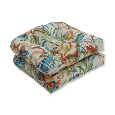 Pillow Perfect Set of 2 Botanical Glow Tiger Lily Wicker Patio Seat Cushion