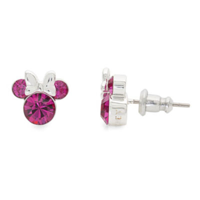 Disney Lab Created Pink Brass 9.3mm Mickey and Friends Stud Earrings