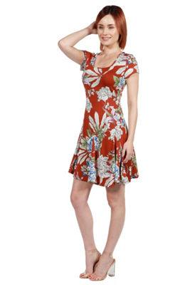 24Seven Comfort Apparel Jessie Red and Black ShiftDress - Plus